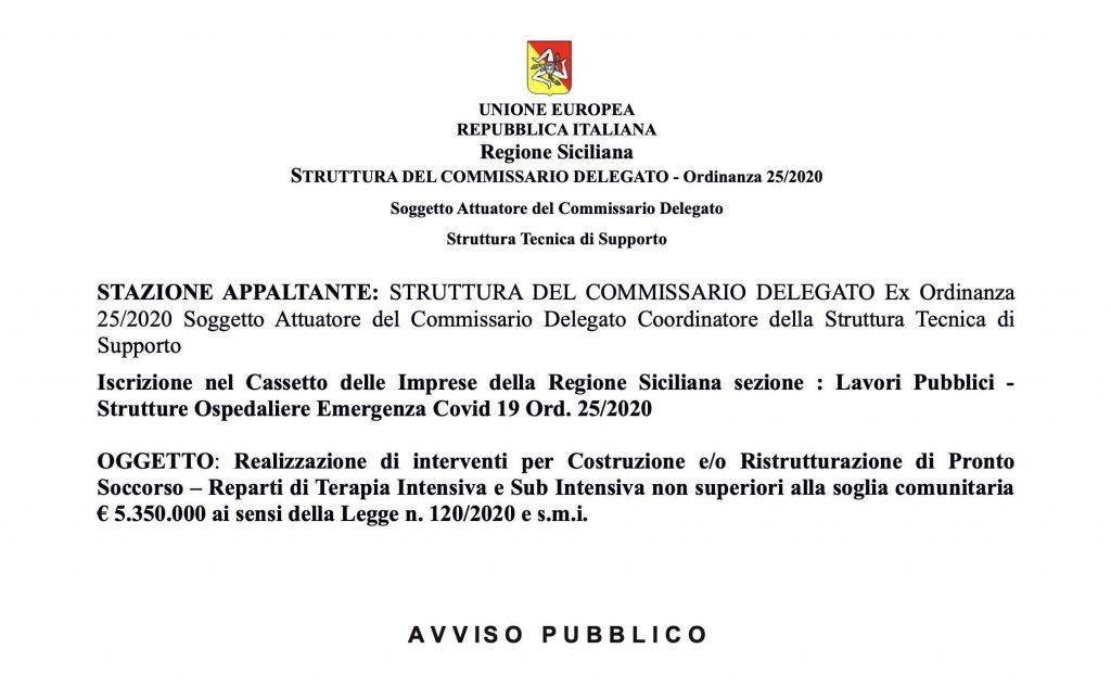 Avviso per l'iscrizione nel cassetto delle imprese della Regione Siciliana